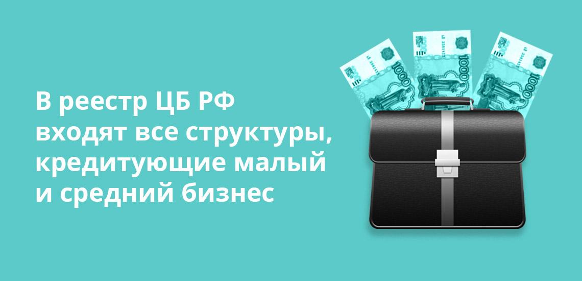 В реестр ЦБ РФ входят все структуры, кредитующие малый и средний бизнес