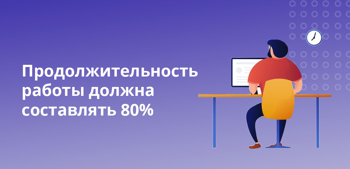 Продолжительность работы должна составлять 80%