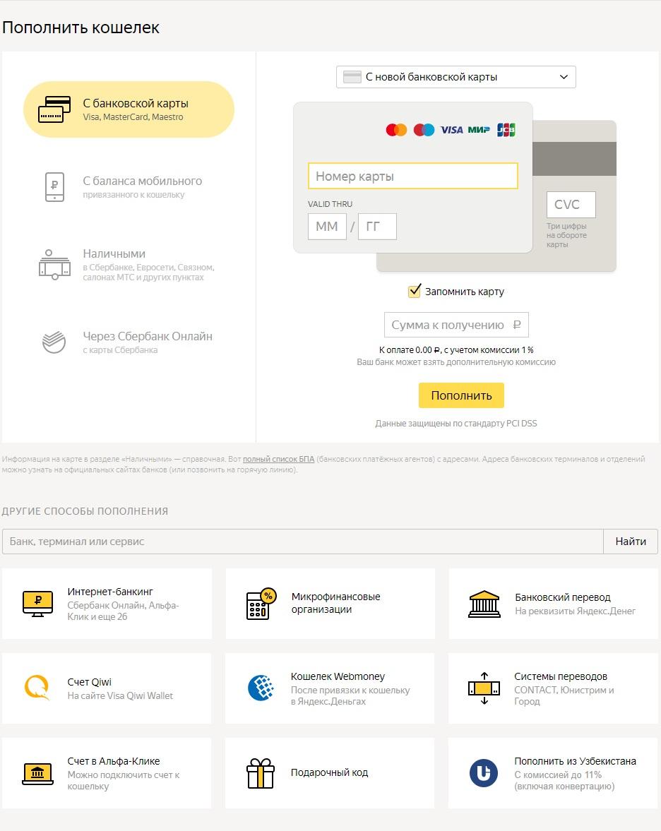 Способы пополнения Яндекс Кошелька