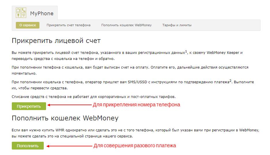 Пополнить кошелек Webmoney через MyPhone
