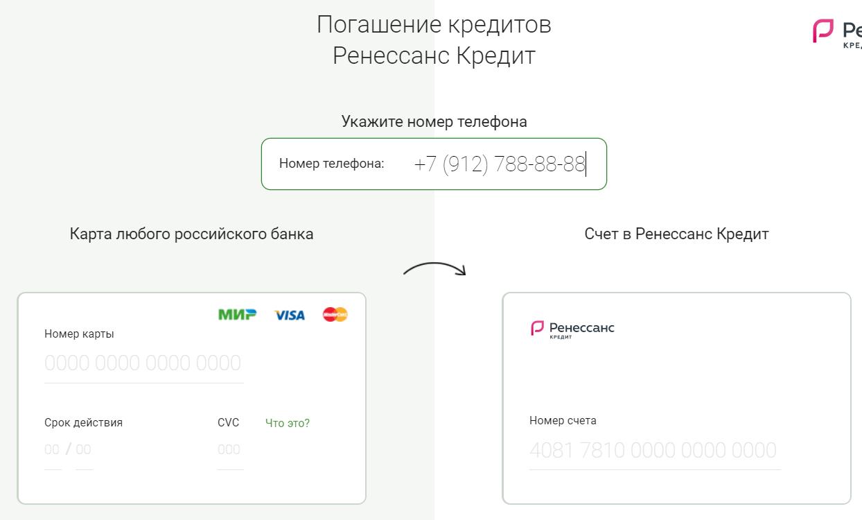 Оплата кредита Ренесанса с банковской карты
