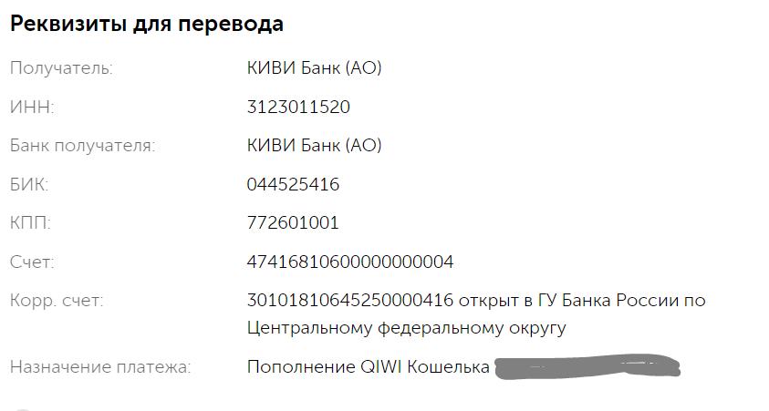 Реквизиты кошелька Киви для банковского перевода