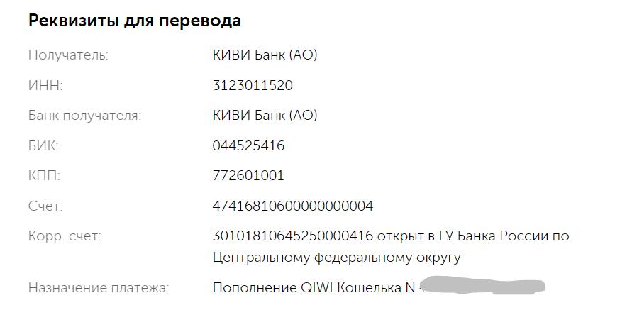 Банковские реквизиты Киви-кошелька
