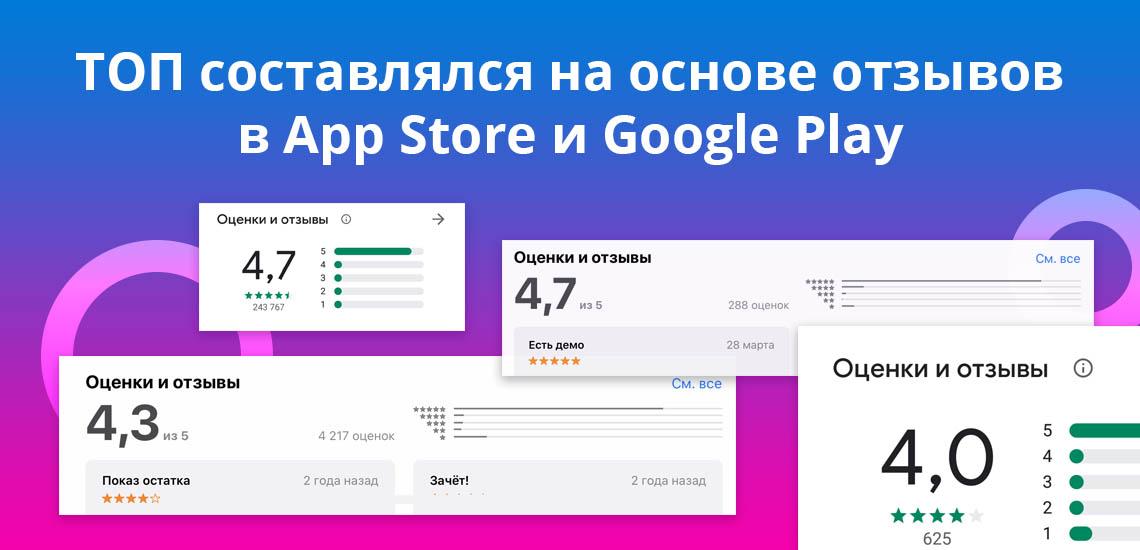 ТОП составлялся на основе отзывов в  App Store и Google Play