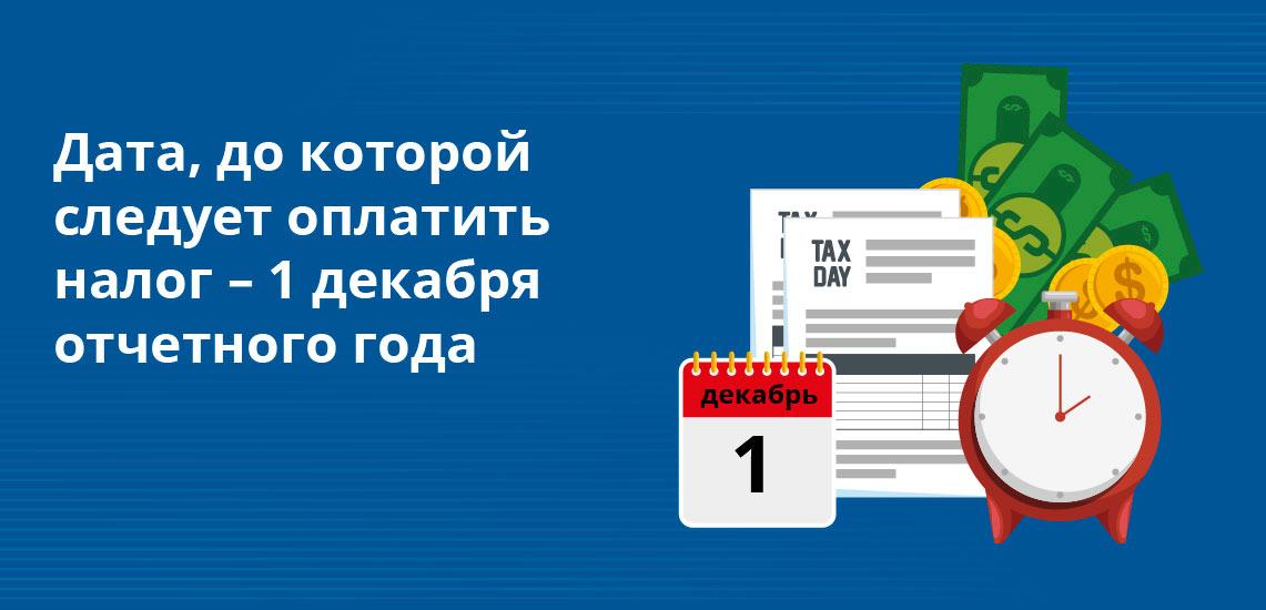 Дата, до которой следует оплатить налог – 1 декабря отчетного года