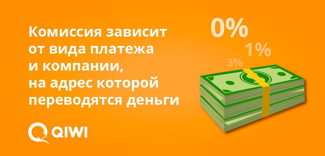Комиссия зависит от вида платежа и компании, на адрес которой перечисляются средства