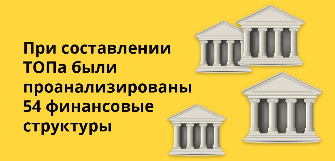 При составлении ТОПа были проанализированы 54 финансовые структуры