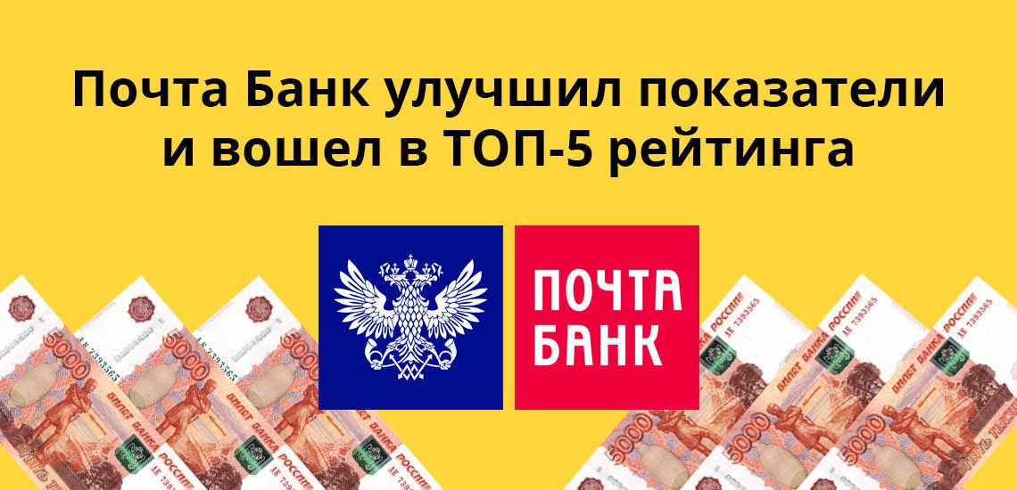 Почта Банк улучшил показатели и вошел в ТОП-5 рейтинга