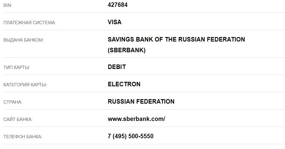 Информация с сервиса проверки номеров карт