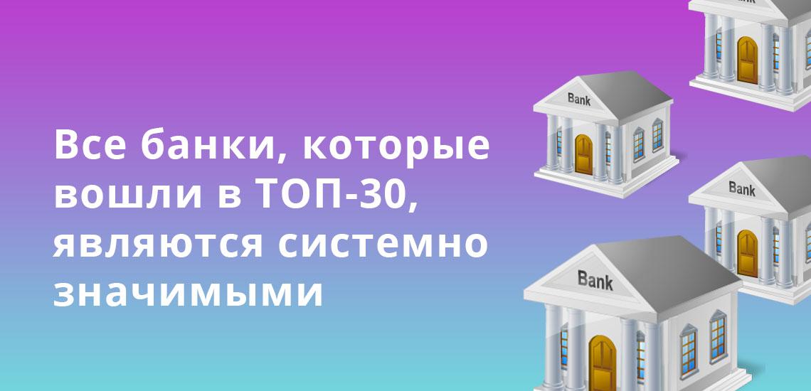 Все банки, которые вошли в ТОП-30, являются системно значимыми