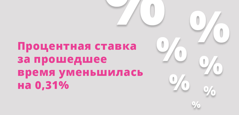 Процентная ставка за прошедшее время уменьшилась на 0,31%
