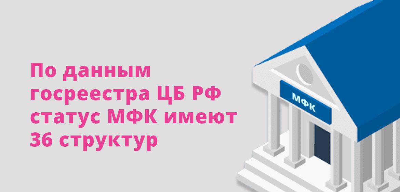 По данным госреестра ЦБ РФ статус МФК имеют 36 структур