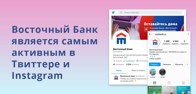 Восточный Банк является самым активным в Твиттере и Instagram