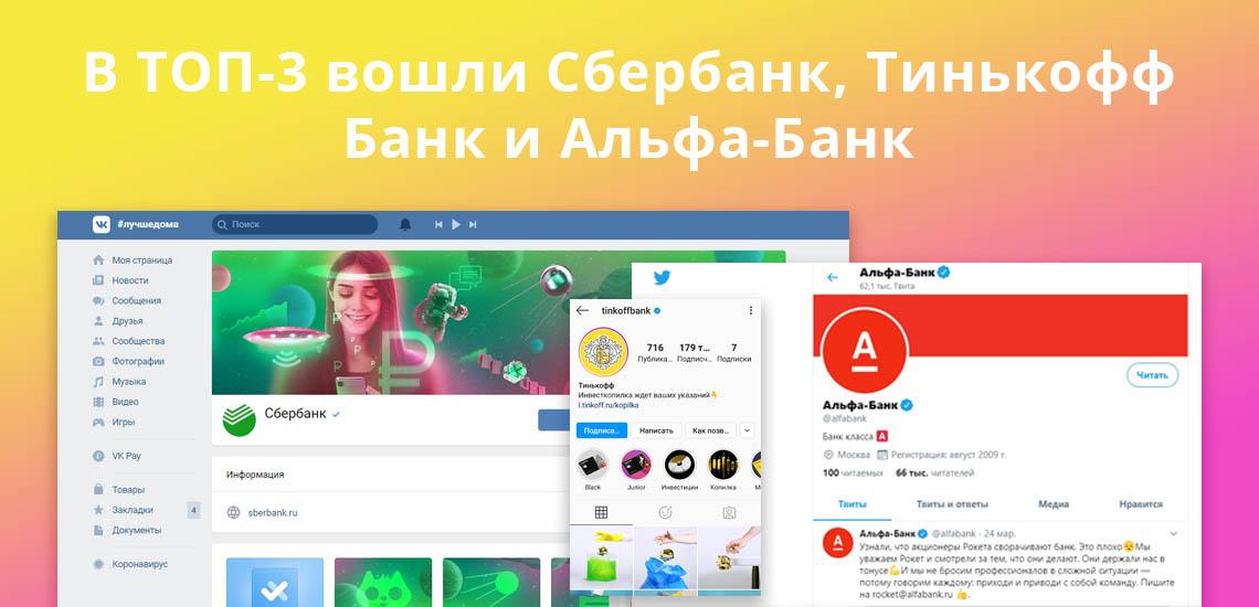 В ТОП-3 вошли Сбербанк, Тинькофф Банк и Альфа-Банк