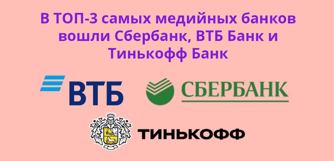 В ТОП-3 самых медийных банков вошли Сбербанк, ВТБ Банк и Тинькоф Банк
