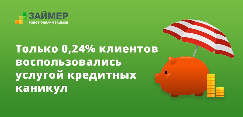 Только 0,24% клиентов воспользовались услугой кредитных каникул