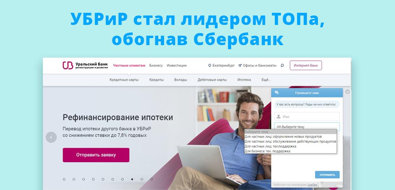 УБРиР стал лидером ТОПа, обогнав Сбербанк