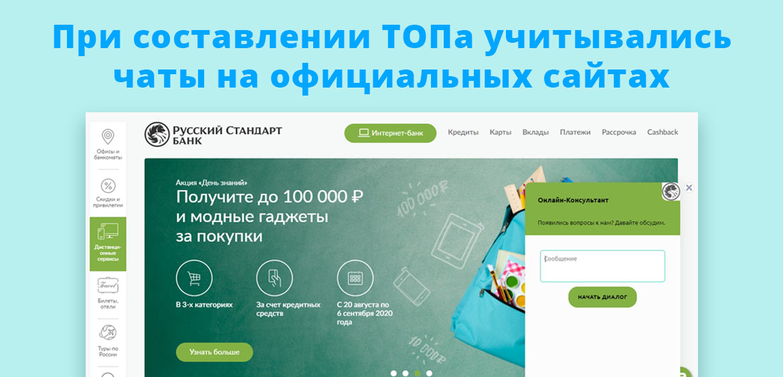 При составлении ТОПа учитывались онлайн-чаты, расположенные на официальных сайтах
