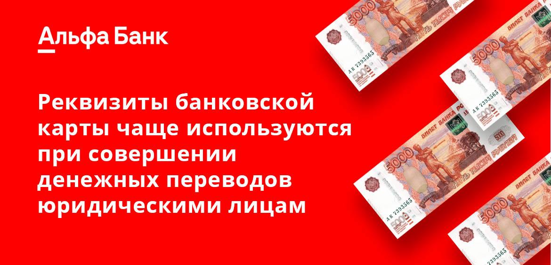 Реквизиты банковской карты чаще используются при совершении денежных переводов юридическими лицами