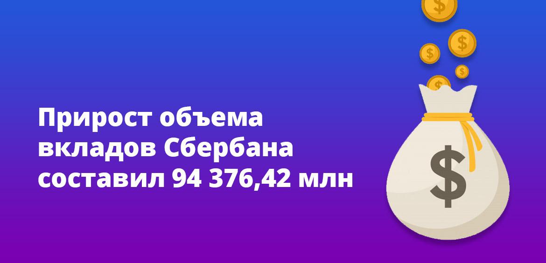 Прирост объема вкладов Сбербанка составил 94 376,42 млн
