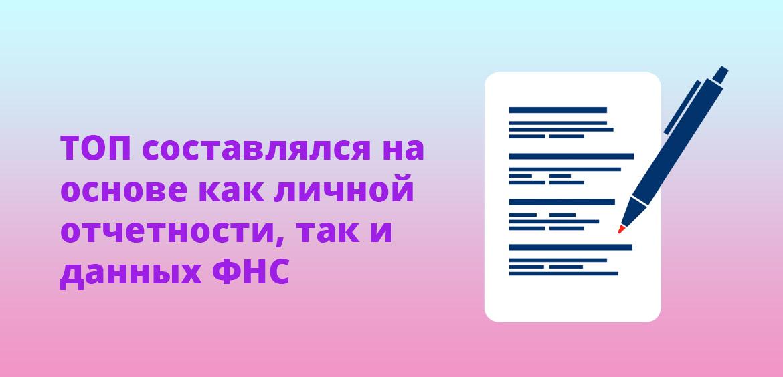 ТОП составлялся на основе как личной отчетности, так и данных ФНС