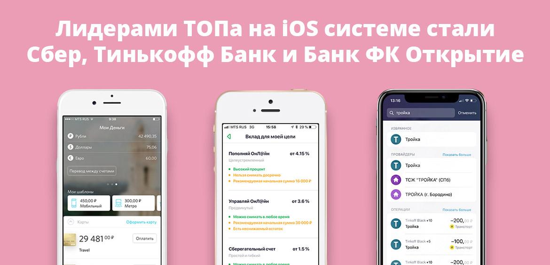 Лидерами ТОПа на iOS системе стали Сбер, Тинькофф Банк и Банк ФК Открытие