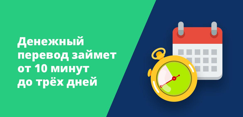Денежный перевод займет от 10 минут до трёх дней