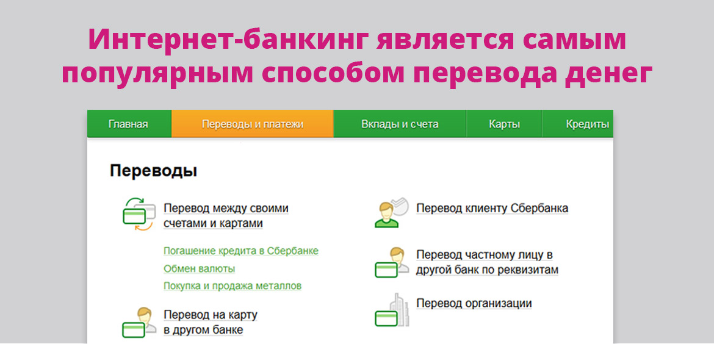Интернет-банкинг является самым популярным способом перевода денег