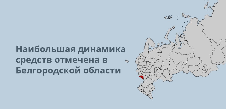 Наибольшая динамика средств отмечена в Белгородской области