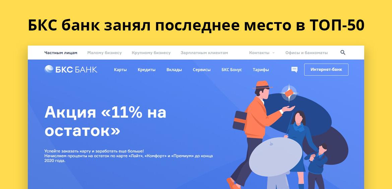 БКС банк занял последнее место в ТОП-50