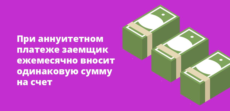 При аннуитетном платеже заемщик ежемесячно вносит одинаковую сумму на счет