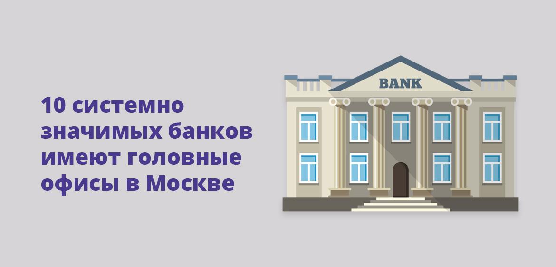 10 системно значимых банков имеют головные офисы в Москве