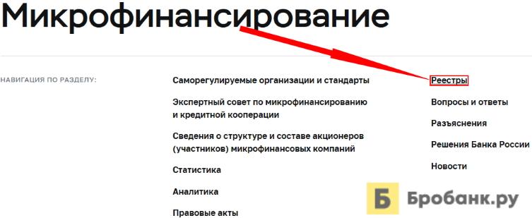 Проверить МФО в реестре ЦБ РФ в 2021 году - шаг 3