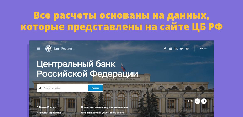 Все расчеты основаны на данных, которые представлены на сайте ЦБ РФ