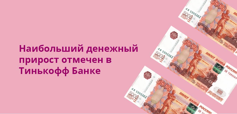 Наибольший денежный прирост отмечен в Тинькофф Банка