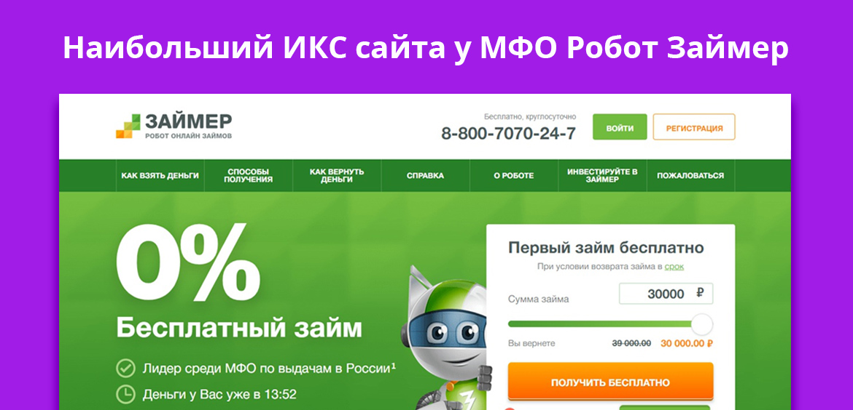 Наибольший ИКС сайта у МФО Робот Займер