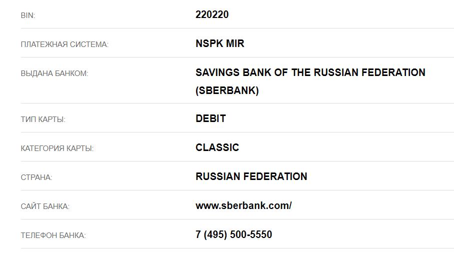 номер карта 220220