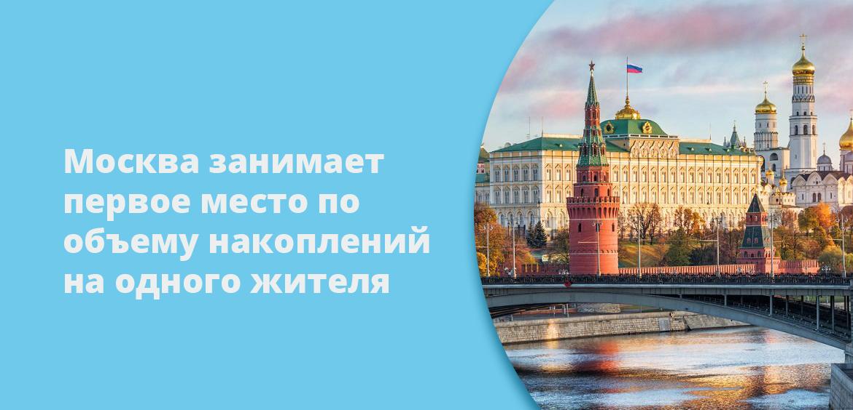 Москва занимает первое место по объему накоплений на одного жителя