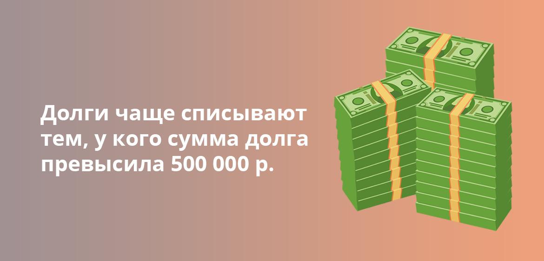 Долги чаще списывают тем, у кого сумма долга превысила 500 000 рублей
