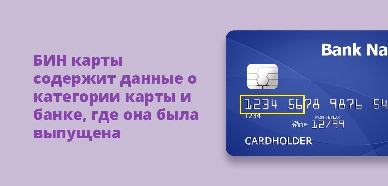 БИН карты содержит данные о категории карты и банке, где она была выпущена