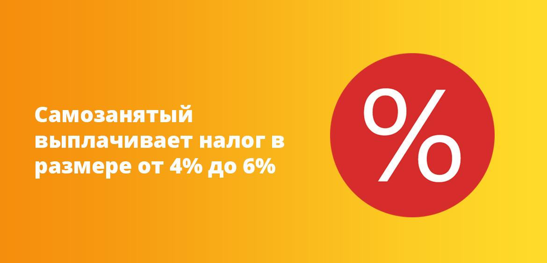 Самозанятый ИП выплачивает налог в размере от 4% до 6%