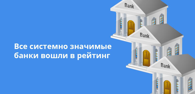 Все системно значимые банки вошли в рейтинг