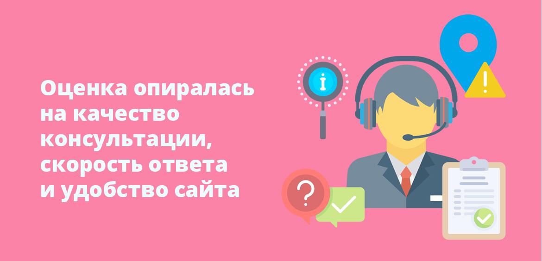 Оценка опиралась на качество консультации, скорость ответа и удобство сайта