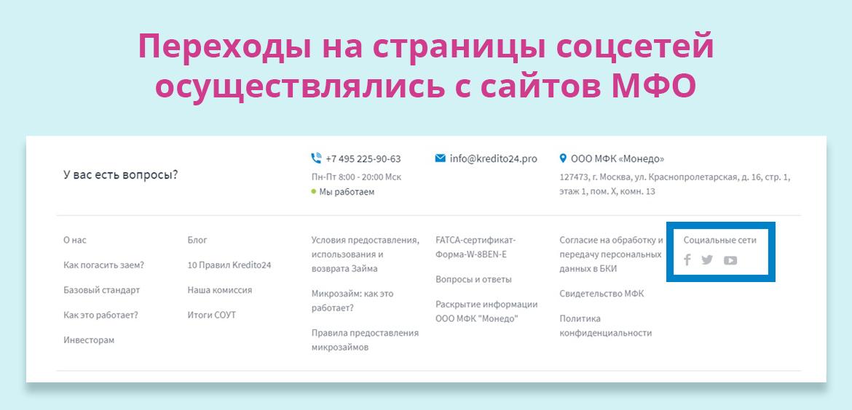 Переходы на страницы соцсетей осуществлялись с сайтов МФО