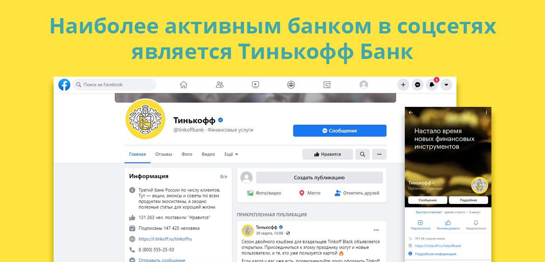 Наиболее активным банком в соцсетях является Тинькофф Банк