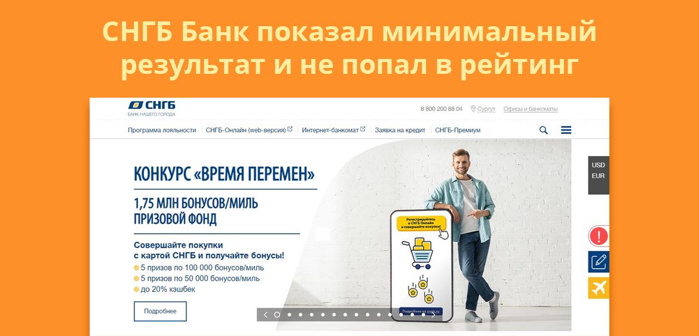 СНГБ Банк показал минимальный результат и не попал в рейтинг