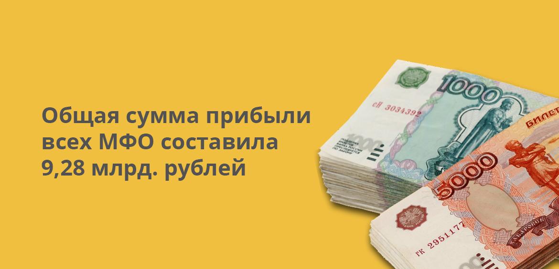 Общая сумма прибыли всех МФО составила 9,28 млрд рублей