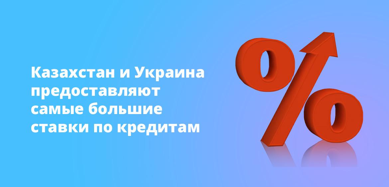 Казахстан и Украина предоставляют самые большие ставки по кредитам