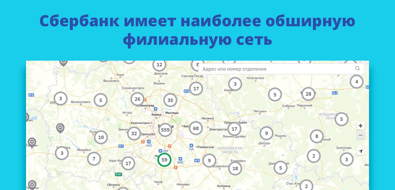 Сбербанк имеет наиболее обширную филиальную сеть