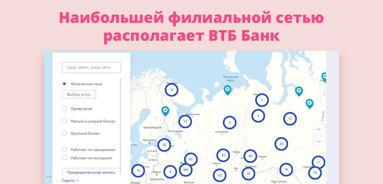 Наибольшей филиальной сетью располагает ВТБ Банк